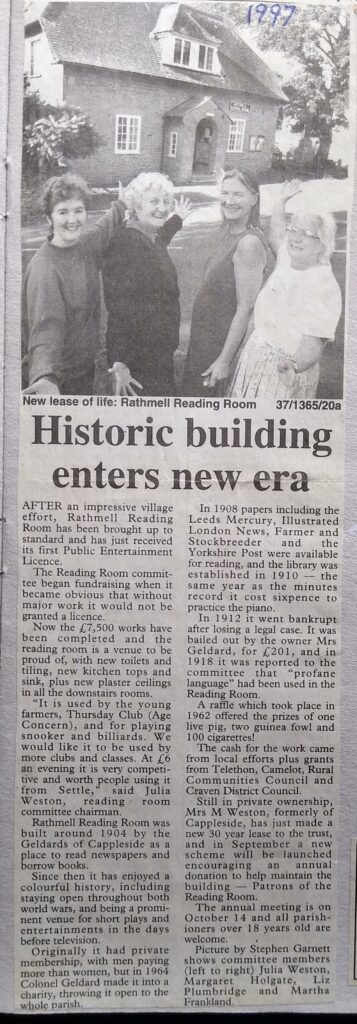 Scan of a 1997 article from the Craven Herald, about Rathmell Reading Room