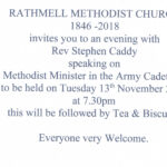 "Talk at the Methodist Chapel ""A Minister in the Army Cadets"" Tues 13th Nov 2018 -7.30pm"